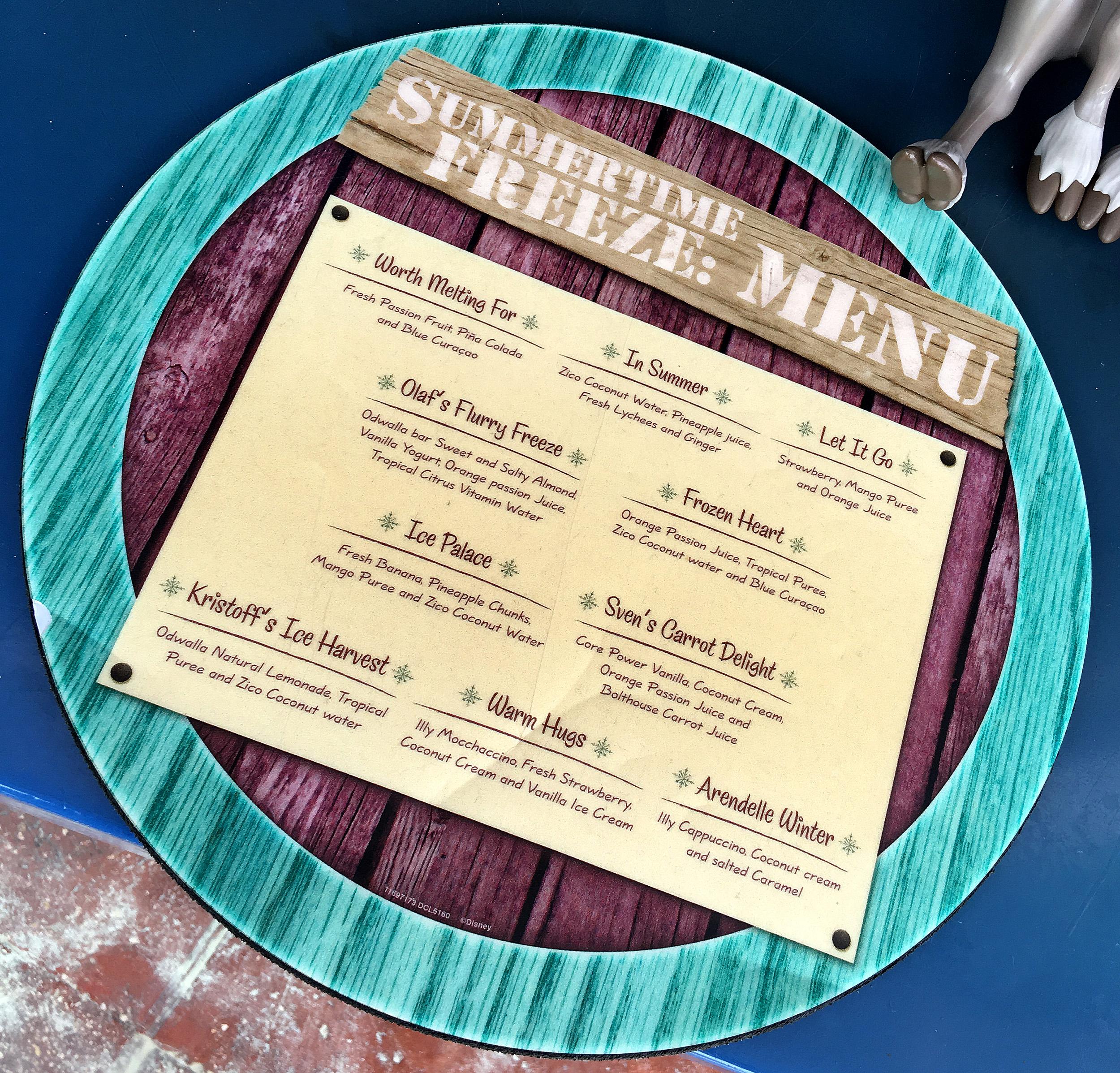 castaway cay summertime freeze menu