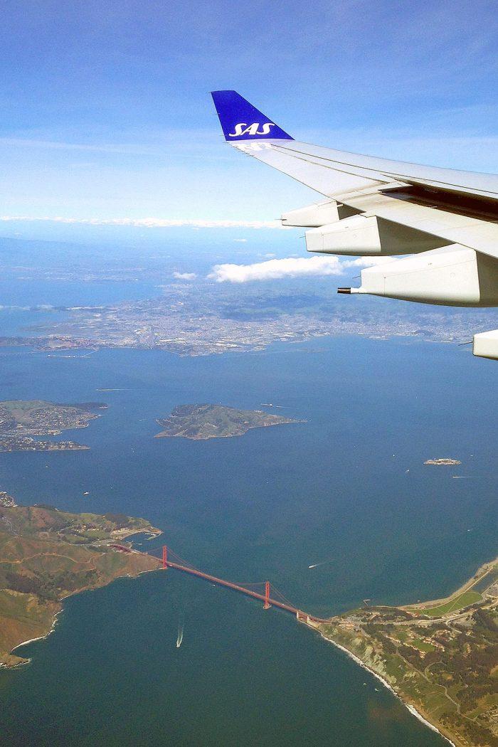 San Francisco från ovan Golden Gate Bridge